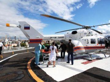 Вертолет санитарной авиации в Новой Москве