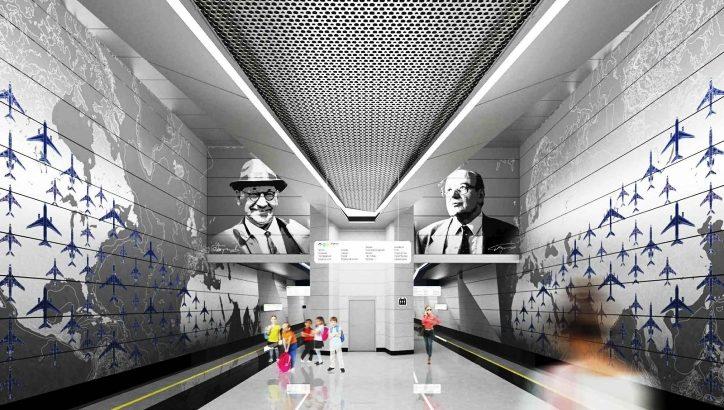 Станцию метро «Внуково» украсят изображениями самолетов и авиаконструкторов